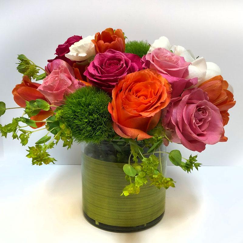 Rainbow Rose Assortment Arrangement